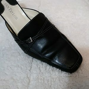 Ann Taylor black leather mules 8